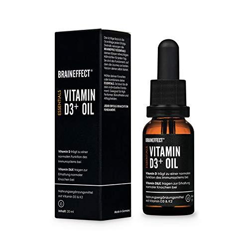 BRAINEFFECT Vitamin D3 K2 Tropfen 20ml (= 530 Tropfen), Made in Germany - Vitamin D3+ Oil (hochdosiert mit 1000 I.E. = 25 µg pro Tropfen), Vitamin D 3 und Vitamin K 2 in hochwertigem MCT-Öl