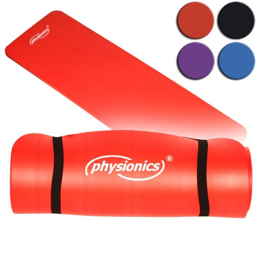 Physionics Yogamatte - 180 x 60 cm, 1.0/1.5 cm dick, rutschfest, inkl. Tragegurt, Farbwahl - Gymnastikmatte, Fitnessmatte, Trainingsmatte für Yoga, Pilates, Gymnastik (Rot, 180x60x1.5cm)