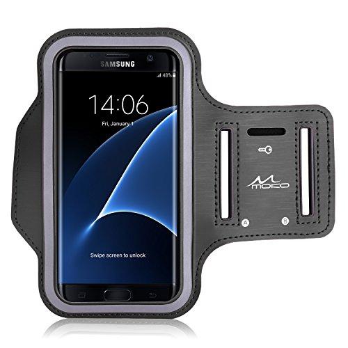 MoKo Armband für Handy bis zu 6 Zoll, Sweatproof Joggen Laufen Sport Armband Handy Hülle + Schlüsselhalter Kopfhörer Anschluss Kompatibel mit Samsung Galaxy S20/S10/S9/S8, Huawei P30/P20/P10, Schwarz