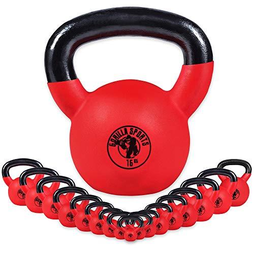 GORILLA SPORTS® Kettlebell 2 kg Vinyl – Kugelhantel Red Rubber aus Gusseisen mit Neoprenhülle - TÜVRheinland Zertifiziert