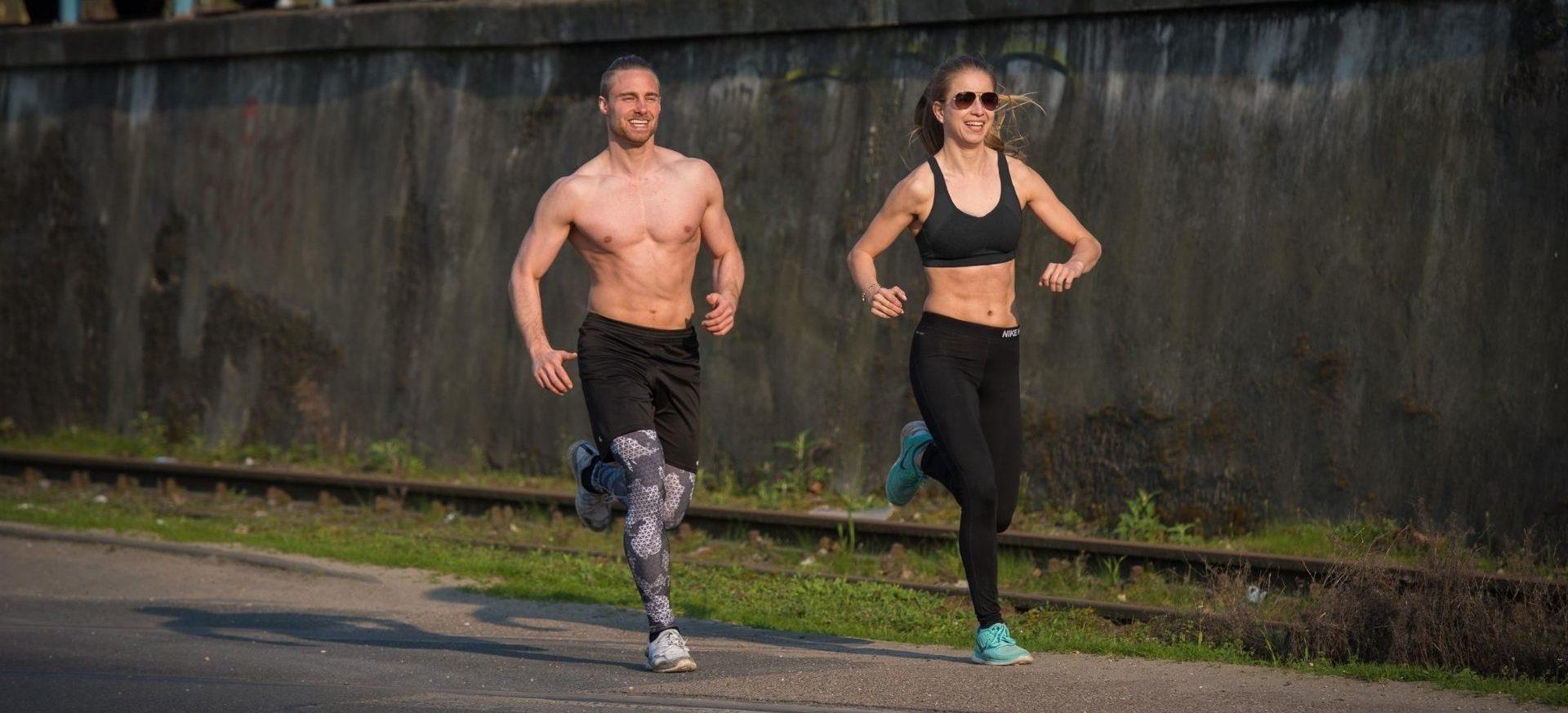 Mann, Frau, Laufen, durchtrainiert, Sportkleidung