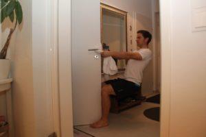 Mann, Training, Handtuch, Tür, Türziehen