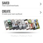 Der Workout Auswahlbildschirm