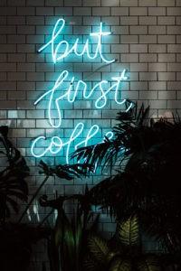 Neonreklame, Bild, Englisch, dunkel, Kaffee