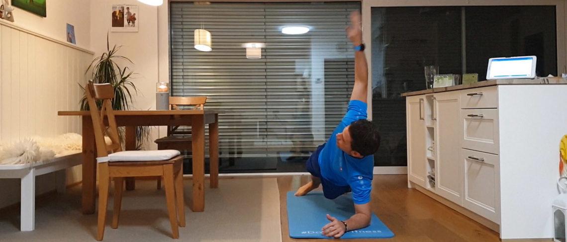 Übung, Plank mit Rotation, Unterarmstütz