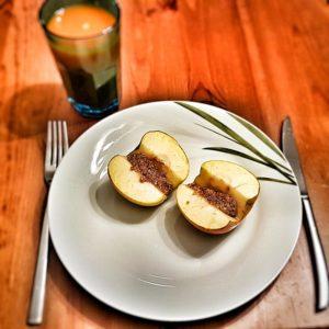Hier der Bratapfel mit Honig statt der Banane gesüßt.