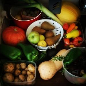 Nachdem ich meinen Obst- und Gemüsevorrat wieder aufgestockt habe, schaut es ungefähr so aus. :-)