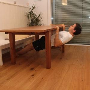 Mann, Bild, Training, Tisch, Hometraining