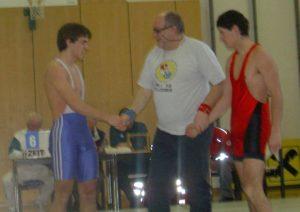 Bei einem meiner letzten Ringkämpfe im Jahr 2003 - hier im blauen Dress.