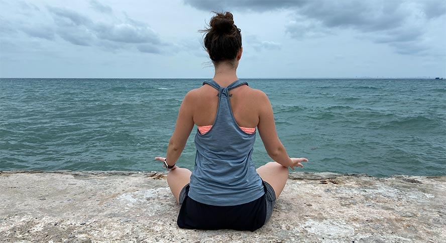 Frau, Meditation, Strand, Meer, Rücken