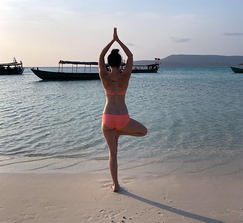 Yoga, Baum, Strand, Frau, Bikini