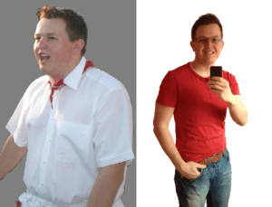 Fabian vor und nach seinem Abnehmerfolg. Mit seinen Motivationstipps schaffst du das auch!