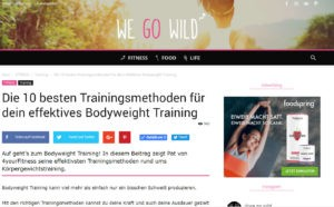Screenshot des Artikels auf we-go-wild.com